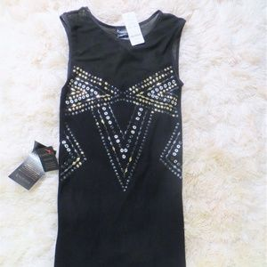 BEBE NWT Black and Metal Accent Bodycon Mini Dress